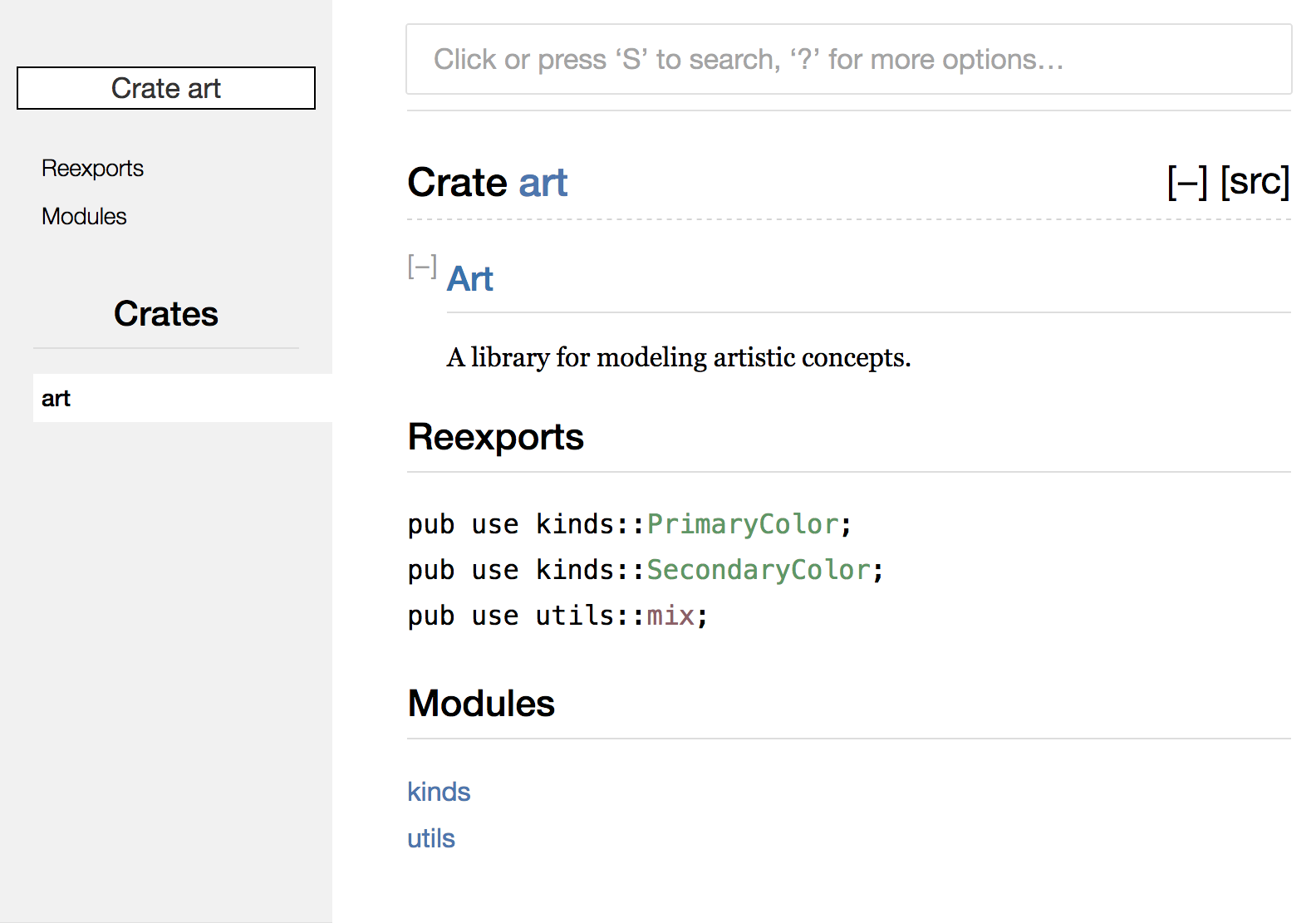 Rendered documentation for the `art` crate with the re-exports on the front page